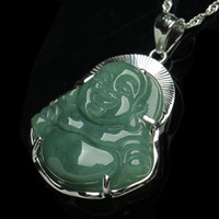 925 Pure Silver- encrusted Jade Buddha Pendant Natural A Good...