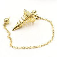 Venta al por mayor 10 PCS Spiral Spring Colgante Muchos colores Panámide de metal Péndulo para Scrying Link Cadena Charm Jewelry