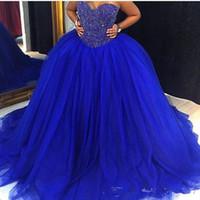 2.021 Tamaño azul real Nueva barato hinchada de bola de Tulle del vestido de novia vestidos de novia de la boda de novia con cuentas de cristal Plus vestidos de quinceañera personalizada