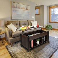 Waco Levante Top Mesa de centro, mobília da sala de estar com prateleira do compartimento de armazenamento oculto, (Brown)