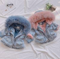 아기 소녀 데님 코트 키즈 모피 칼라 후드 Jean Outwear 어린이 벨벳 Thicken 따뜻한 카우보이 코트 A4036