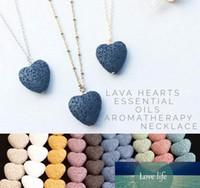 Herz-Lava-Rock-Korn-langer Halskette Vulkan Aromatherapie ätherisches Öl Diffusor Halskette schwarze Lava-hängende Schmucksachen freies Verschiffen