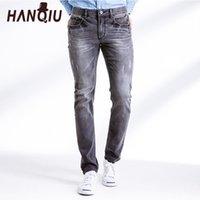 HANQIU 2020 Jeans Männer der neuen Ankunfts-Cotton Brown-Streifen Strechy Fest Silm Fit Mid-Taille Weiche Fashion Male Bottoms