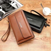 Fashion Men Leather Wallets Double Zipper Black Cover Coin Purse Men's Clutch Wallet High Capacity Men Wallets