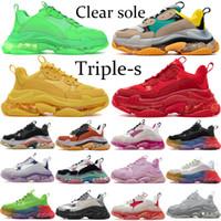 Sneakers pares Limpar Sole Triplo s para as Mulheres Homens Triplo verde neon Preto Amarelo plataforma branca 17FW sapatos da moda ginásio vermelho sapatos azuis