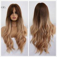 qualityLong Brown Ombre onduladas perucas sintéticas para as Mulheres High Density Perucas com Franja Dark Brown Natural Diário Cosplay Wigs