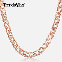 Trendsmax Necklaces for Women Men 585 Rose Gold Venitian Curb Link Chain Necklace 45cm 55cm 60cm Fashion Jewelry KGN453