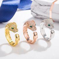 925 argent en argent sterling de mode anneau de tête de léopard sterling avec les hommes guépards zircon anneau ouvert et les femmes anneau de tête de léopard