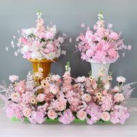 50/50/65cm Seide Rose Hortensie Künstliche Blume Ball Blumenstrauß Dekor Hochzeitsfeier Kulisse Road Guide Tisch Mittelstück