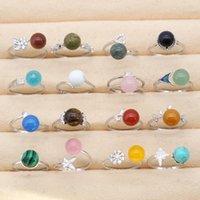 Стерлингового серебра 925 стерлингового серебра кольцо для регулируемого кольца с натуральным камнем Agate Opal бирюзовый кристалл каменный модный ювелирные изделия для женщин
