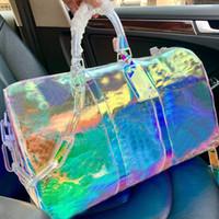 Láser PVC Bolsas de lona transparente Transparente Color Bolso Bolso 50 cm 27cm l Bolsas de equipaje de viaje floral Bolsos de gran capacidad Bolso de hombro