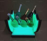 Buz Kovası Led Şarap Kova Şarj Akrilik Şampanya Bira Tutucu Bar Araçları Süslemeleri 7 Renk Yanıp Sönen