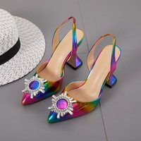 2020 Rainbow Color Women Sandals Pointed Toe Sun Style Rhinestone High Heels Weeding Shoes Spike Heel Slingback Pumps