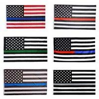 3x5FT İnce Blue Line Kırmızı Hat Bayraklar 6 Stiller Polyester Bayrak ABD Polisi Yangın Saygı ve Onur Banner Bayraklar CCA12503 60pcs