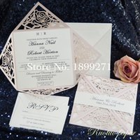 인사말 카드 무료 클래식 독특한 홍당무 라이트 핑크 로즈 레이저 컷 결혼식 초대장 스위트 디자인 / 인쇄 텍스트 24 색