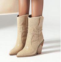 Venta caliente de calidad botas mujer botas con la caja Borgoña botas de vaquero diseñador de la mujer botines de cuero en relieve PU tacones gruesos