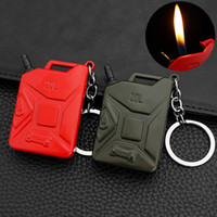 Mini Keychain Lighter Creative Oil Drum Shaped Butane Gas Lighter Refillable for Cigarette Collection