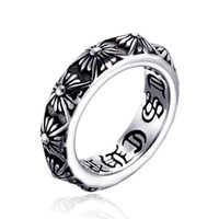Tide Brand Retro ChromeHearts Cross Ring Cool Men Stainless Steel Lettering Ring Crowe Heart Jewelry