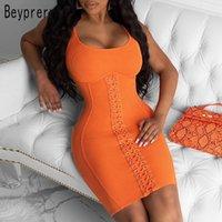 Günlük Elbiseler Beyprann Zarif Pamuk Nervürlü Örme Bodycon Turuncu Tank Elbise Lounge Giyim Kadın Sevimli Korse Bandaj Tatil Kıyafetleri