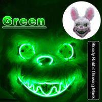 Бесплатная доставка Кровавый кролик Светящиеся маска Horror Demon Halloween Party Маски Медведь Плюшевые животных Headgear EL Шлем Одеваем Реквизит F0903