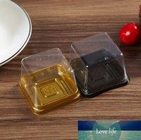 1000sets / lot, gâteau boîte en plastique simple gâteau individuel Boîtes d'or ou noir Bas plastique Mooncake Pvc Boîtes Emballage alimentaire Cadeau SN1099