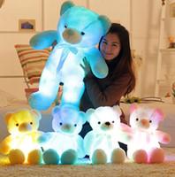 LED Ursos Bichos de pelúcia urso de brilho bonito Plush brinquedos criativos coloridos brinquedos de pelúcia Kawaii ilumina acima Animais Boneca do Natal dos miúdos Brinquedos KKA8051