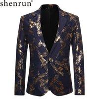 Shenrun Uomini Blazers Black Navy Blue Gold Stampa rivestimento di cerimonia nuziale del vestito causale Blazer Singer Host costumi DJ organizza Giacche Musicista