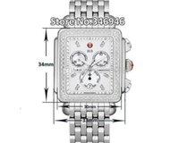 33MM ميشيل توقيع ديكو الماس كرونوغراف أم اللؤلؤ السيدات كوارتز ساعة