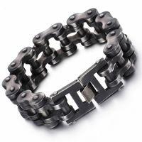Lien, chaîne punk bracelet de vélo brossé oxydé vélo sombre hommes mode mâle 316l acier inoxydable main