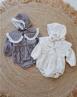 INS Детских девочек кружев вышитого отворот ползунки детские дети цветочной печататься с длинным рукавом комбинезонами с шапками для малышей малышей 1th партии одежды A4021
