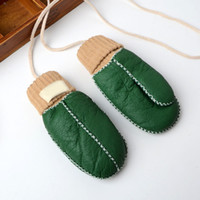 2020 New Kids Size Genuine Leather Mittens For 4- 9 Years Thi...