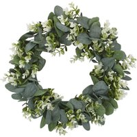 Simulation Eucalyptus Wreath with Flowers Suitable for Front...