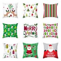 Serie de Navidad almohada 45 * 45cm cubierta Elk Velvet Santa Claus muñeco de nieve cubierta suave de la almohadilla del amortiguador del sofá de la sala decorativo VT1521