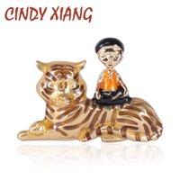 Pins, broches cindy xiang esmalte menino e tigre broche animal moda unisex pin estilo criativo