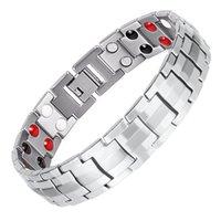 Moda nagetive braccialetto magneti agli ioni di uomini, 316L catena a maglia d'acciaio braccialetto magnetico per i gioielli la salute degli uomini di energia