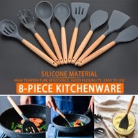 8pcs 9pcs Pack Food Grade Silicone Cooking Tools Kit Soup Spoon Scrapers Silicon Non-stick Wooden Handle Heat Resistant Cookware Set