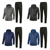Männer webt Trainingsanzug 2020 Top-Version Frühling Herbst Herren Baumwollmischung Trainingsanzüge Tops + Hosen Herren Casual Jacket Sport Anzug Asiatische Größe
