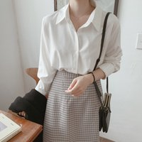 Shirt Women's Autumn 2020 Spring New Style Chiffon Shirt Women's Blouse Style White Long Sleeve Blusas Femininas Elegante 89D