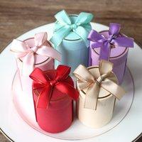 Hediye Wrap Yaratıcı Silindir Şeker Kutuları Düğün Parti Iyilik ve Paketleme Çanta Dekorasyon için Kutu Kağıdı
