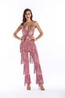 Moda de Nova 2019 Borlas Fascinantes Metálico Glitter Macacão de Discoteca Sequin Catsuit Bodysuit