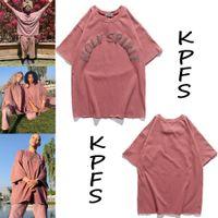 20SS Kanye Kanye aynı konser grubu KUTSAL RUH baskı Retro çift gevşek kısa kollu tişört
