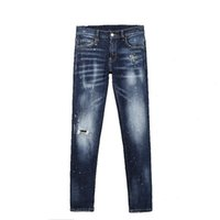 Tops Mens Ripped Slim Fit Jeans Fashion Washed Painted Patchwork Blue Hip Hop Stylist Denim Pants With Holes For Men 8227
