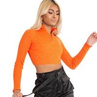 Koşu Ceketler 2021 Moda Kadınlar Uzun Kollu Fermuar Kırpma Üst Moda Standı Yaka Katı Renkler Bayanlar için