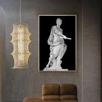Preto e branco Romano Imperador Julius Sculpture Caesar Statue Poster Canvas Pintura de pintura Arte de parede para a decoração da sala de estar