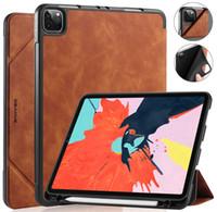 Caso para iPad Pro 11 2020 2018 Holder Lápiz Cuero Magnético Magnético Auto Dormir / Wake Smart Cubierta para iPad 10.2 Air 2 Mini 4