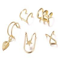 C شكل كليب على الأقراط الفضة الذهب ستار ليف تتدلى الأقراط الكفة الأزياء النساء الأذن حلقات الأزياء والمجوهرات والهدايا سوف الرملية