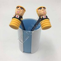 Presidente Donald Trump Talking Toy Toy Hammer Lápiz con martillo PVC 2pcs Set Trendy Funny Desktop Exhibir Lápiz Soporte de lápiz Maker D81707