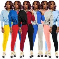 النساء رياضية المصممين طويل الأكمام تي شيرت سروال اللباس الخريف الشتاء أنثى تباين الألوان المرقعة الرياضة قطعتين بدلة D82408