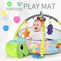 Baby 3in1 Play Pool Pool Ocean Cartoon Toys Mat Turtle Ball Game Blanket Foldable Tent Fencing Pit Crawling Gift Ercxi