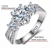 A Fine Jewelry Ring Silver Real 925 Sterling Silver Wedding Rings Set 1 Carat Sona Cz Diamant Engagement Rings For Women Rx036